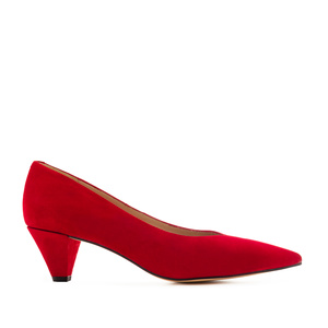 Fine Tip Red Suede Court Shoes
