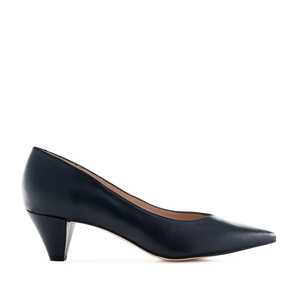 Fine Tip Navy Nappa Leather Court Shoes