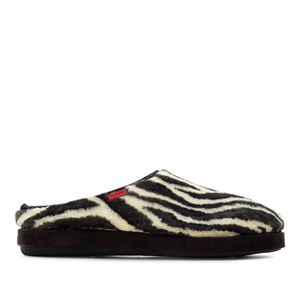 Zebra Print Plush Fur Slippers