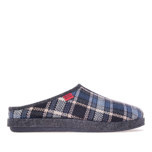 Blue Check Print Alpine Slippers