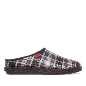 Black Check Print Alpine Slippers