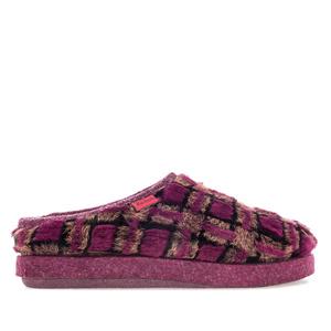 Módní fialové bačkory- pantofle se kostečkovým vzorem. Materiál plyš dlouhý vlas.