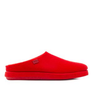 Komfort Fußbett Filzhausschuhe in Rot.