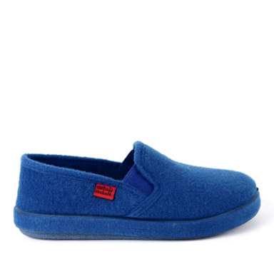 Deep Blue Alpine Felt Closed-Back Slippers