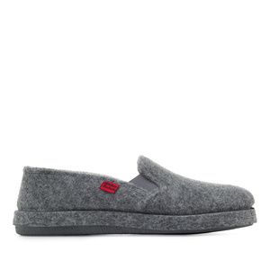 Grey Alpine Felt Closed-Back Slippers
