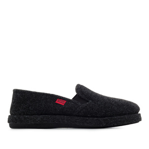 Black Alpine Felt Closed-Back Slippers