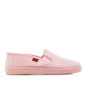 Pink Alpine Felt Closed-Back Slippers