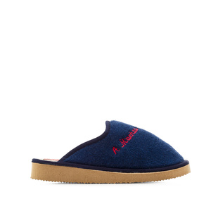 Navy towelling slippers with EVA sole