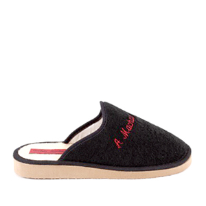 Black towelling slippers with EVA sole
