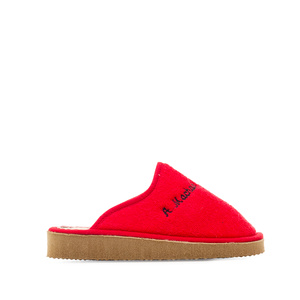 Red towelling slippers with EVA sole