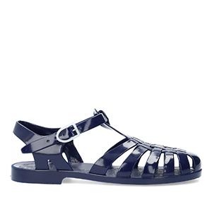 Sandales Meduses Bleu Foncé translucides. Fermeture en Boucle