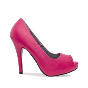 Peeptoe soft rosa fucsia con plataforma interior y tacón fino