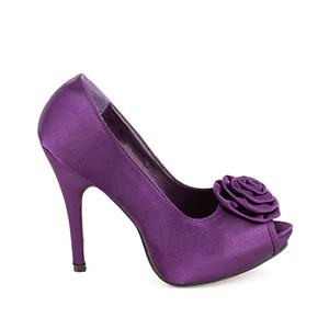 Satenske cipele sa ukrasnim cvetom, ljubičaste