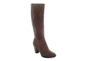 Boots with heel in elasticated Brown Suede