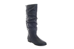 Buckled boots in Soft Dark Blue leather