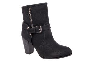 【大小】ブーツ ヒール バックル プル ブラック 小さいサイズ 大きいサイズ