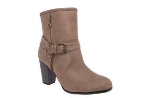 【大小】ブーツ ヒール バックル プル ライトブラウン 小さいサイズ 大きいサイズ