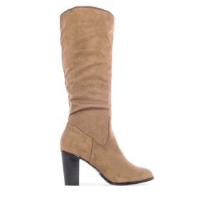 Calf High Boots in Camel faux Suede