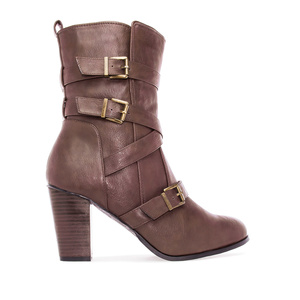 High Leg Booties in Brown faux Leather