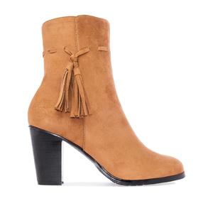 Tassle Booties in Camel faux Suede