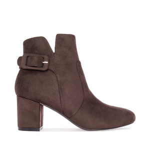 Bottines Nubuck Marron Echancrées.