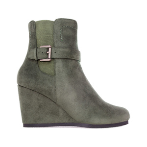 Chelsea Green faux Suede Wedge Booties