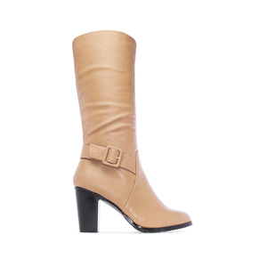 Calf High Boots in Beige faux Leather