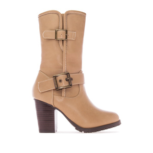 Mid Calf Boots in Beige faux Leather