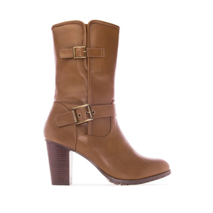 Mid Calf Boots in Mokka faux Leather