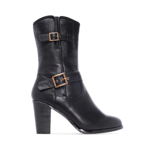 Mid Calf Boots in Black faux Leather