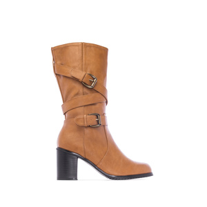 Mid Calf Heeled Boots in Camel faux Leather