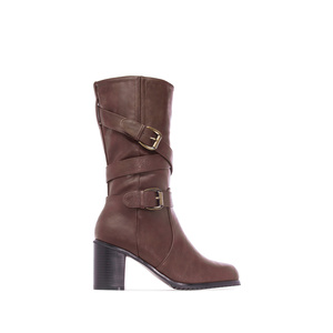 Mid Calf Heeled Boots in Brown faux Leather