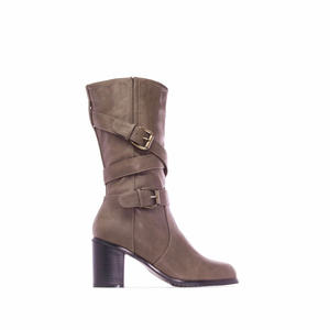 Mid Calf Heeled Boots in Sienna faux Leather