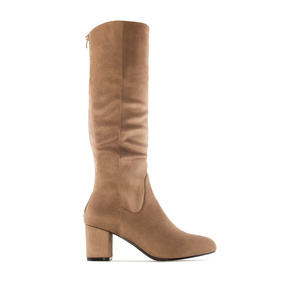 Calf-High Boots in Light Brown Suede