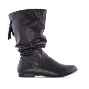 Wrinkled Shaft Boots in Navy faux Leather