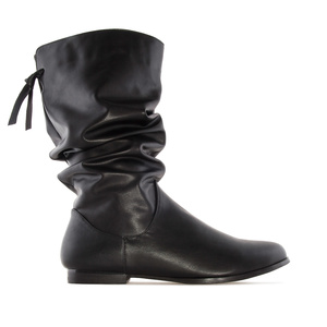 Wrinkled Shaft Boots in Black faux Leather