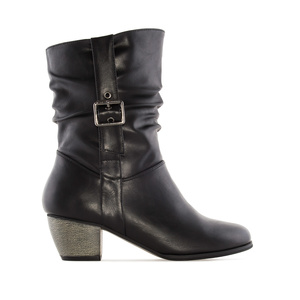 Mid-Calf Buckle Boots in Black faux Leather