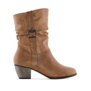 Mid-Calf Buckle Boots in Camel faux Leather