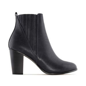 Ankle Boots in Navy faux Leather, with elastic detail