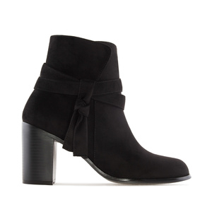 Laced Ankle Boots in Black Suede