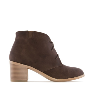 Lace-Up Booties in Brown faux Leather