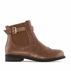Chelsea Brogued Boots in Brown faux Leather