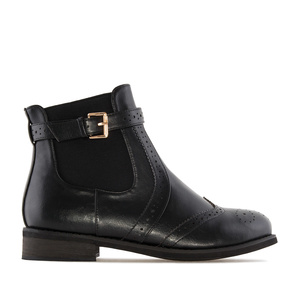Chelsea Brogued Boots in Black faux Leather