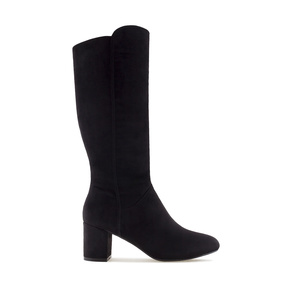 Mid-heel Boots in Black Suede