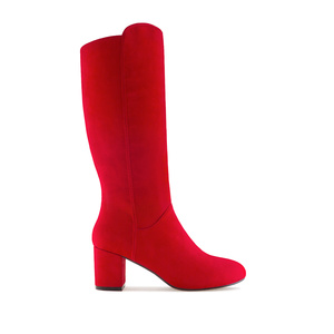 Mid-heel Boots in Red Suede
