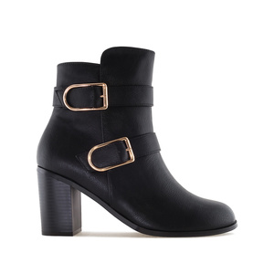 2-Buckle Ankle Boots in Black faux Leather