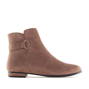 Bottines Plates Daim Marron