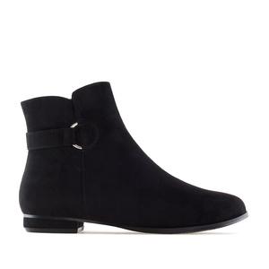 Flat Booties in Black Suede