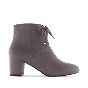 Lace-Up Booties in Grey Suede