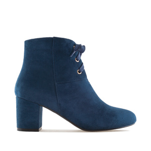 Lace-Up Booties in Navy Suede